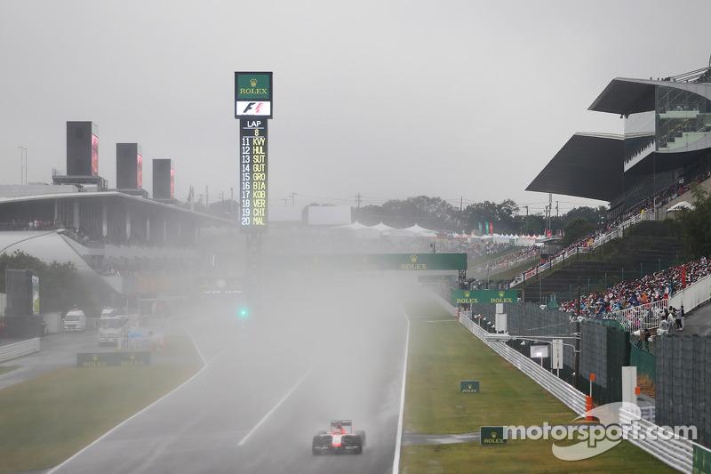 Das Rennen findet bei widrigen Witterungsbedingungen statt