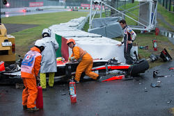 Adrian Sutil, Sauber F1 Team looks on as the safety team at work after the crash of Jules Bianchi, Marussia F1 Team