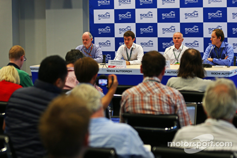 (L to R): Richard Cregan, Russian Grand Prix Consulatant; Sergey Vorobyev, Deputy General Director, OJSC Centre Omega, and Russian GP Promoter; and Alexander Saurin, Vice Govenor of Krasnodar Regional Administration at a Press Briefing