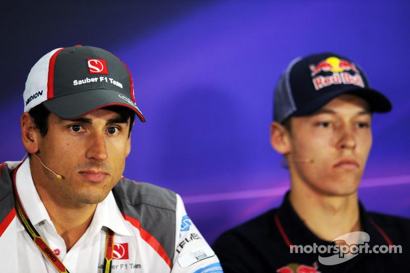 Adrian Sutil, Sauber; Daniil Kvyat, Scuderia Toro Rosso