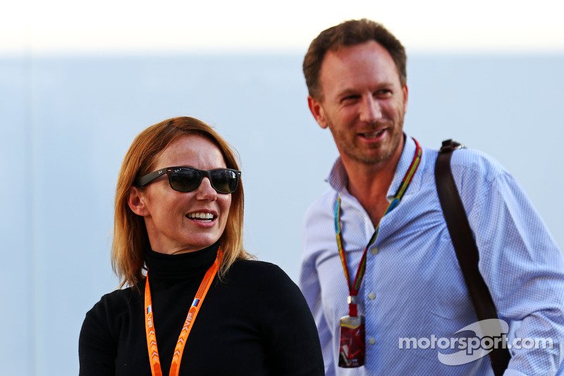 (L to R): Geri Halliwell, Singer with Christian Horner, Red Bull Racing Team Principal