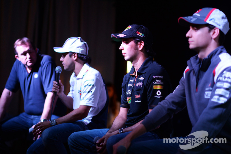 (L to R): Felipe Massa, Williams; Sergio Perez, Sahara Force India F1 and Esteban Gutierrez, Sauber; at the Fans' Forum