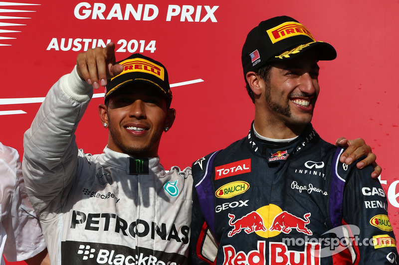 1st place Lewis Hamilton, Mercedes AMG F1 W05 with 3rd place Daniel Ricciardo, Red Bull Racing RB10