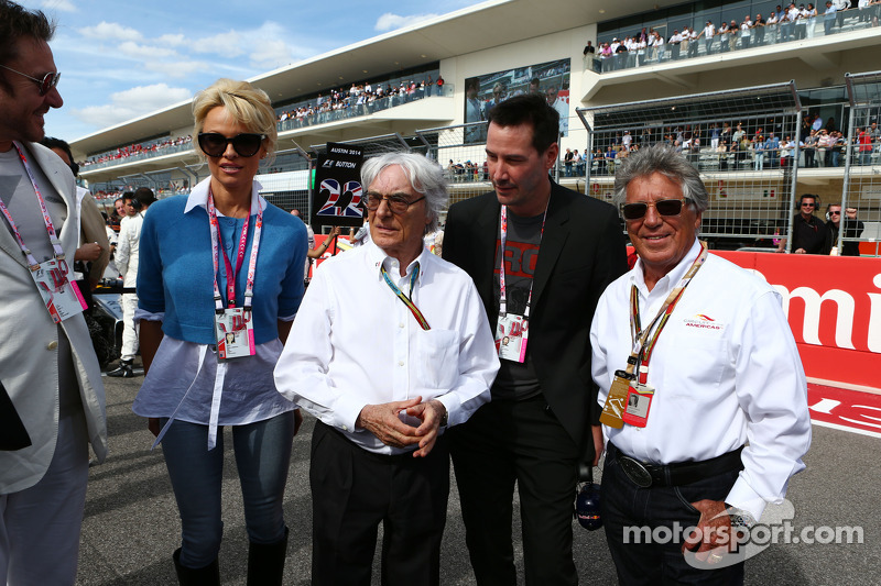 (L to R): Simon Le Bon, Duran Duran Lead Singer with Pamela Anderson, Actress; Bernie Ecclestone, Actor; and Mario Andretti, Circuit of The Americas' Official Ambassador