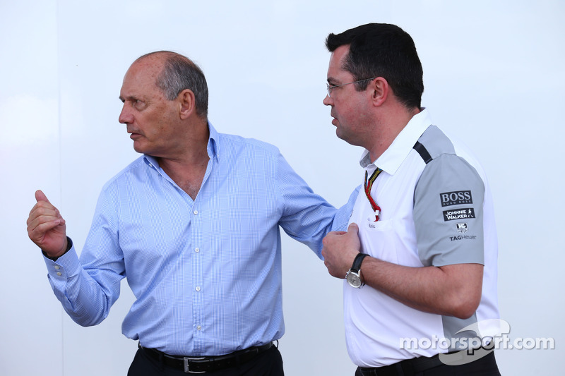 (L to R): Ron Dennis, McLaren Executive Chairman with Eric Boullier, McLaren Racing Director