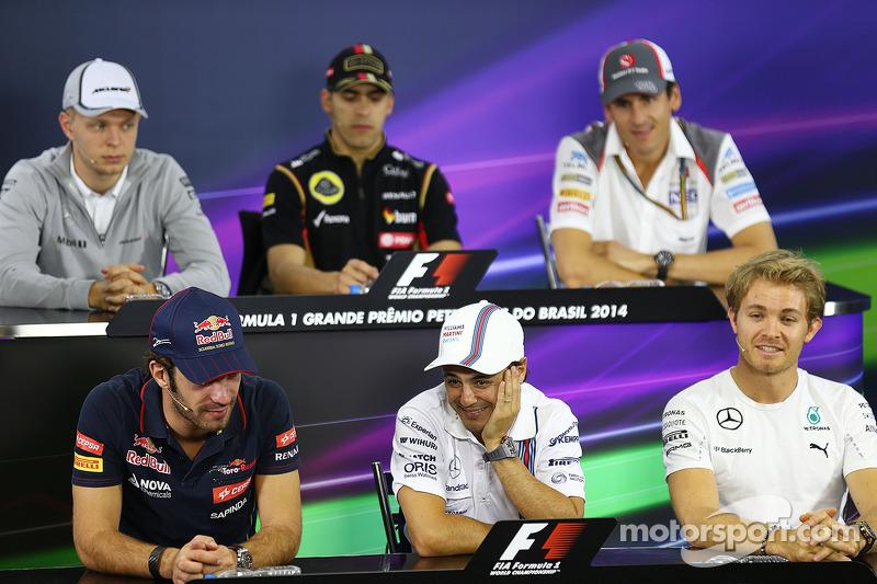 La conferenza stampa FIA, McLaren; Pastor Maldonado, Lotus F1 Team; Adrian Sutil, Sauber; Jean-Eric