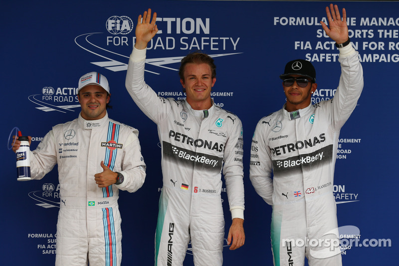 Pole para Nico Rosberg, Mercedes AMG F1 W05, 2do lugar for Lewis Hamilton, Mercedes AMG F1 W05 y 3ro for Felipe Massa, Williams
