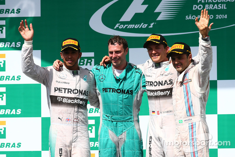 1st place Nico Rosberg, Mercedes AMG F1 W05, 2nd place Lewis Hamilton, Mercedes AMG F1 W05 and 3rd p