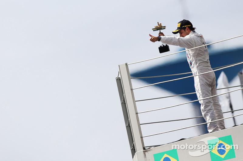 Felipe Massa, Williams celebrates his third position on the podium