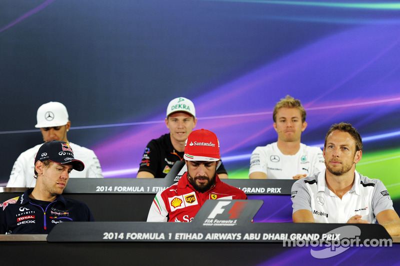 FIA-Pressekonferenz: Lewis Hamilton, Mercedes AMG F1; Nico Hülkenberg, Sahara Force India F1; Nico Rosberg, Mercedes AMG F1; Sebastian Vettel, Red Bull Racing; Fernando Alonso, Ferrari; Jenson Button, McLaren