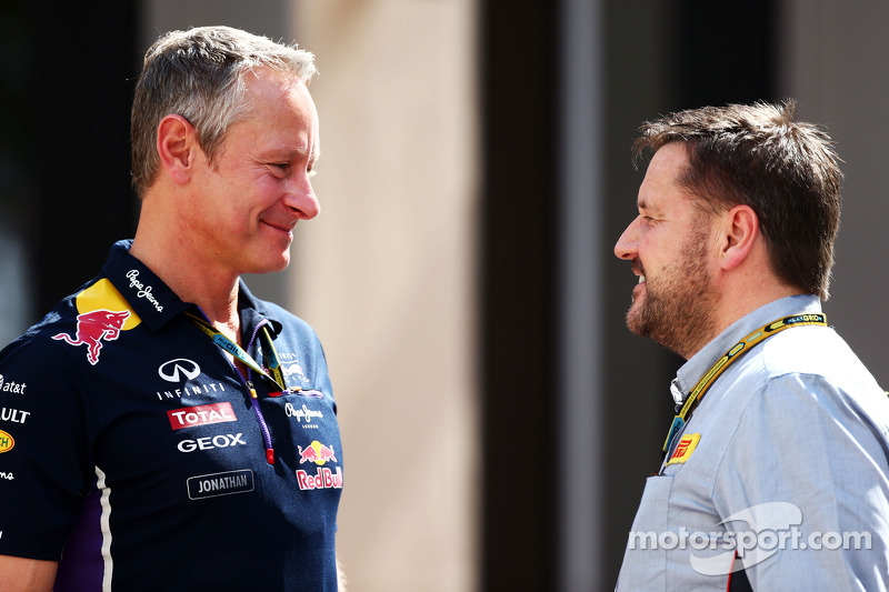 (L to R): Jonathan Wheatley, Red Bull Racing Team Manager with Paul Hembery, Pirelli Motorsport Dire