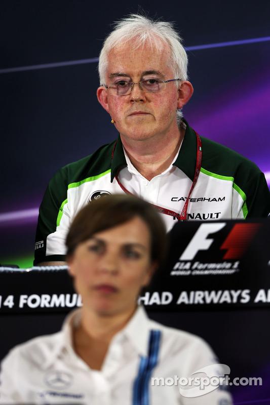 Finbarr O'Connell, Caterham F1 Team Administrator and Claire Williams, Williams Deputy Team Principa