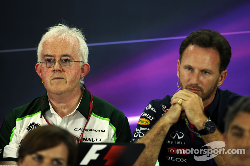 (L to R): Finbarr O'Connell, Caterham F1 Team Administrator with Christian Horner, Red Bull Racing T
