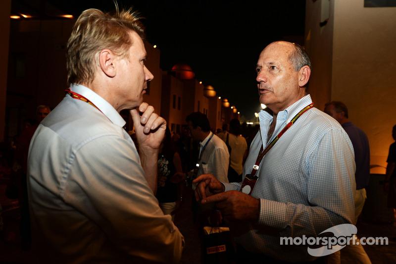 (L to R): Mika Hakkinen, with Ron Dennis, McLaren Executive Chairman