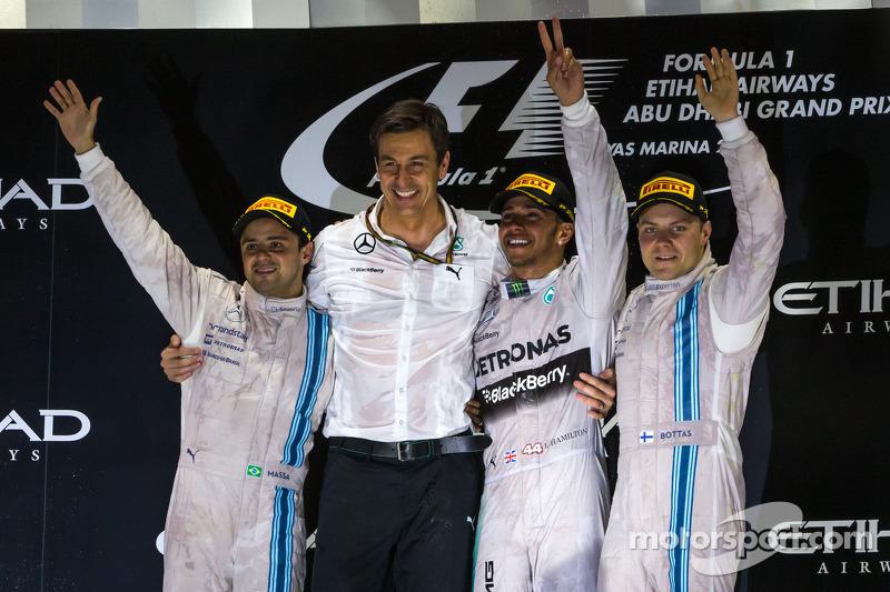 2014 - Ano passado a Mercedes fez a festa, com Lewis Hamilton e a dupla da Williams no pódio