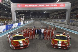 WEC drivers and AF Corse celebrate with the Ferrari F458 Italia
