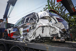 The car of Mehdi Bennani, Sébastien Loeb Racing Volkswagen Golf GTI TCR after the crash