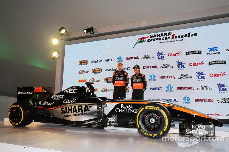 (da sinistra a destra): Nico Hulkenberg, Sahara Force India F1 e Sergio Perez, Sahara Force India F1