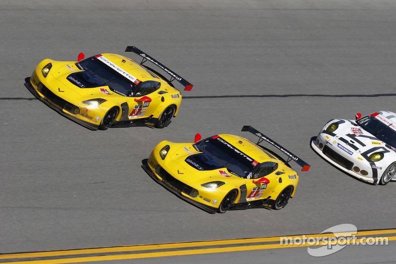 #4 Corvette Racing Chevrolet Corvette C7.R: Oliver Gavin, Tommy Milner, Simon Pagenaud, #3 Corvette Racing Chevrolet Corvette C7.R: Jan Magnussen, Antonio Garcia, Ryan Briscoe