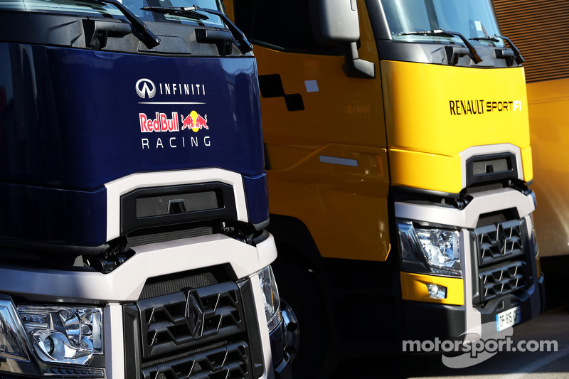 Red Bull Racing and Renault Sport F1 trucks in the paddock