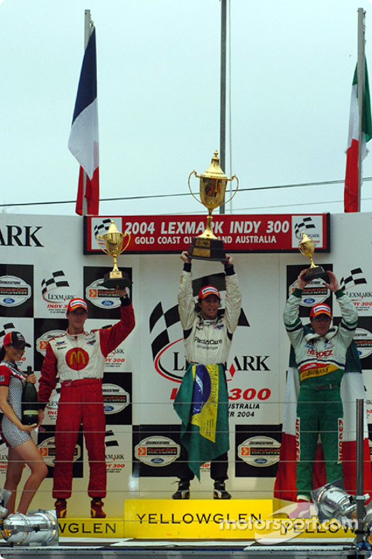 Podium : le vainqueur Bruno Junqueira avec Sébastien Bourdais et Mario Dominguez