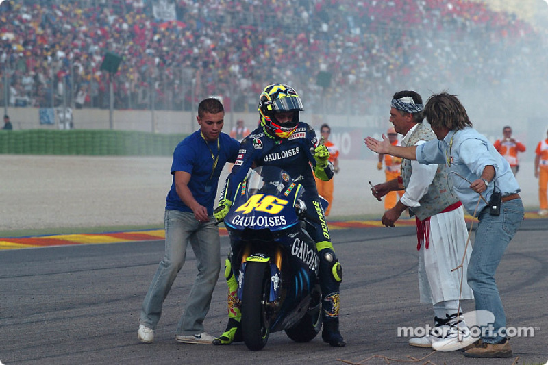 Race Winner Valentino Rossi Celebrates At Valencia Gp