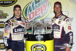 Victory lane: Jimmie Johnson and crew chief Chad Knaus celebrate