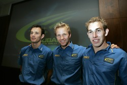 Subaru World Rally Team drivers photoshoot: Stephane Sarrazin, Petter Solberg and Chris Atkinson