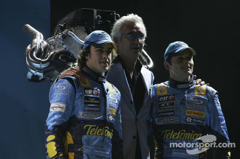 Fernando Alonso, Flavio Briatore and Giancarlo Fisichella
