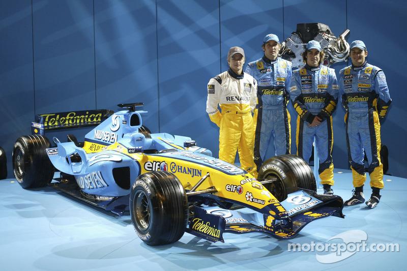 Heikki Kovalainen, Franck Montagny, Fernando Alonso and Giancarlo Fisichella