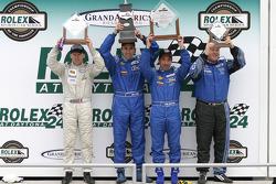 GS podium: race and class winners Ian James and Tom Nastasi celebrate with David Empringham and Rob Finlay