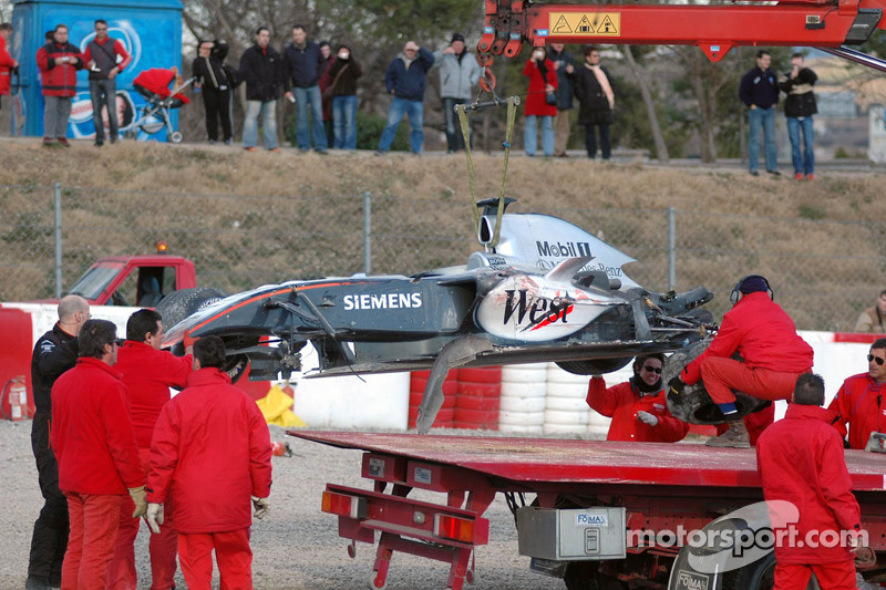 wrecked McLaren Mercedes MP4-20