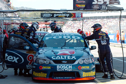 Russell Ingall in the pits during practice