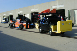 Marco Andretti's car is towed to the pits