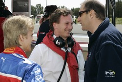 Heikki Kovalainen, Christian Horner and Bruno Michel