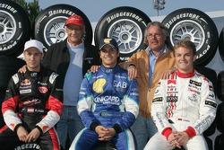 Former World Champions Niki Lauda and Keke Rosberg with Mathias Lauda, Nelson A. Piquet and Nico Rosberg