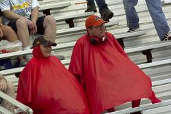 Fans enjoying the rain