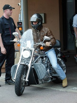 Michael Schumacher on his Harley-Davidson