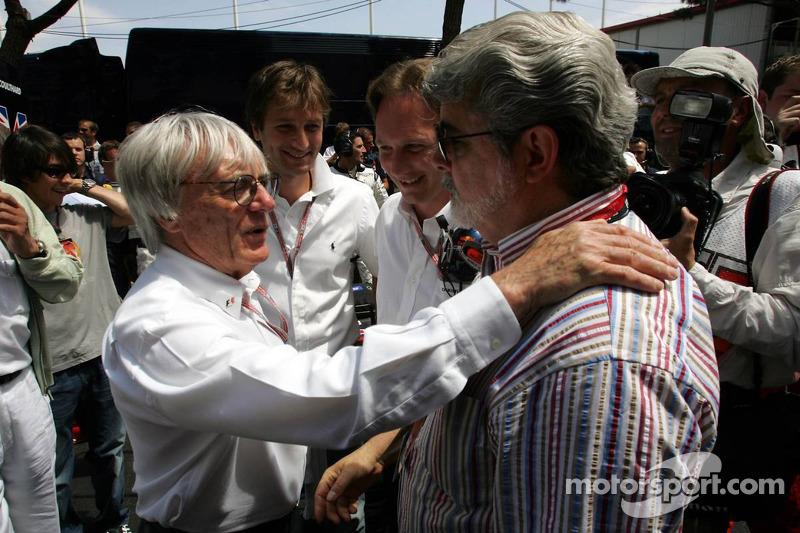 Bernie Ecclestone mit George Lucas