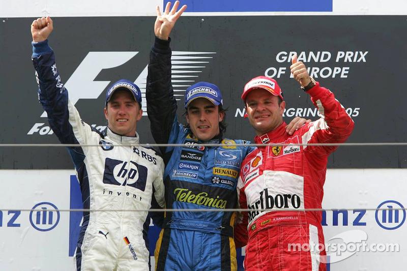 2005: 1. Fernando Alonso, 2. Nick Heidfeld, 3. Rubens Barrichello
