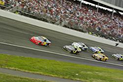 Jeff Gordon leads a restart early in the race