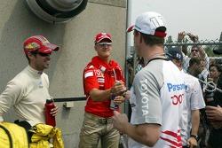 Tiago Monteiro, Michael Schumacher, Ralf Schumacher y Nick Heidfeld