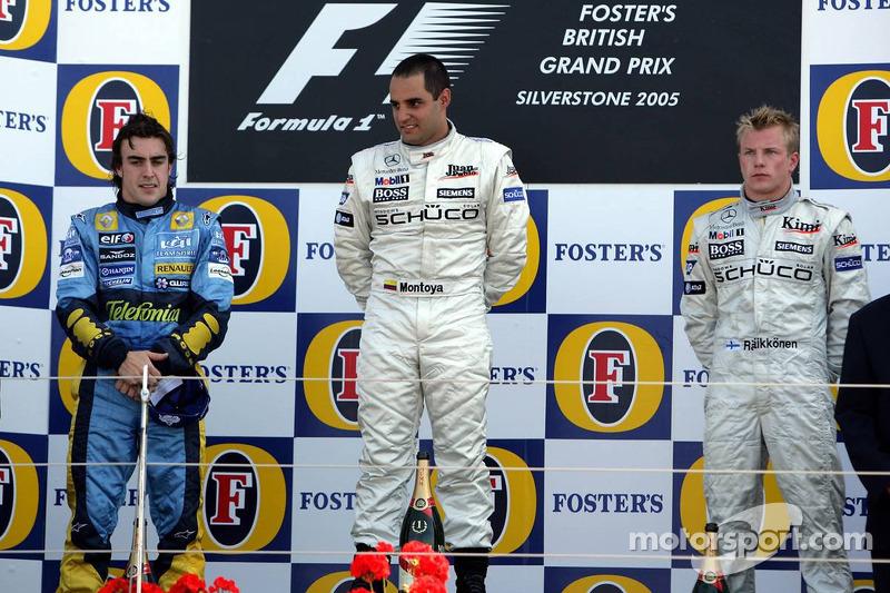 Podio de F1 en Silverstone 2005: 1. Juan Pablo Montoya, 2. Fernando Alonso, 3. Kimi Räikkönen