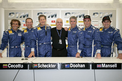 ITR President Hans-Werner Aufrecht with Alain Prost, Johnny Cecotto, Jody Scheckter, Mick Doohan, Nigel Mansell and Emerson Fittipaldi