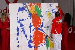 Vodafone event at Hockenheim Talhaus: Rubens Barrichello signs his artwork