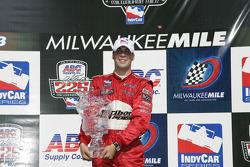 Victory lane: race winner Sam Hornish Jr.