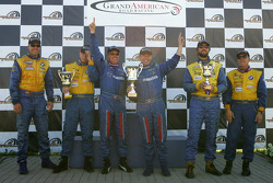 Podium: race winners David Haskell and Sylvain Tremblay, with Will Turner and Don Salama, and Tim Pappas and Steve Pfeffer
