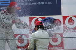 Podium: champagne for Neel Jani, Nico Rosberg and Giorgio Pantano