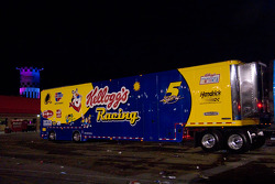 Kyle Busch's hauler is the last to leave
