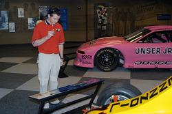 Al Unser III examines father Al Unser, Jr.'s Nance sprint car